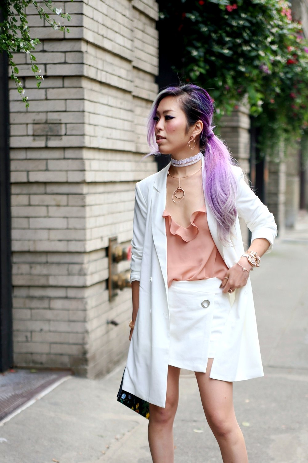 Swarovski Crystaldust Bangle Double White, Forever 21 Mini Blazer Dress & Chiffon Cami_Zara White CROSSOVER CULOTTES_Alice + Olivia Printed Leather Clutch_Shoedazzle Nude Pumps_Swarovski Flash Necklace & Flashed Pierced Earrings & Crystalline Oval Rose Gold Tone Bracelet Watch_Aikas Love Closet_Seattle Fashion Blogger_Japan_Lavender hair_Purple hair