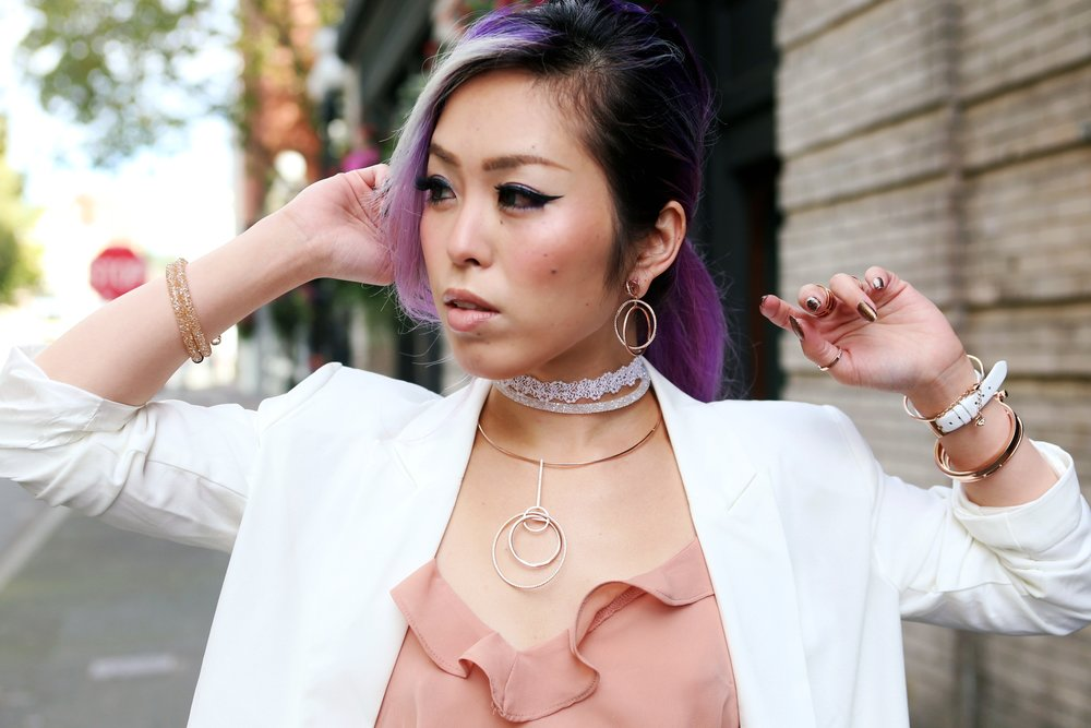 No Weekends N - Gaia Lace Choker_Swarovski Crystaldust Bangle Double White_Flash Necklace & Flashed Pierced Earrings_Flash Ring_Aikas love Closet_Seattle Fashion Blogger_Japanese Fashion_Lavender Hair_Purple Hair
