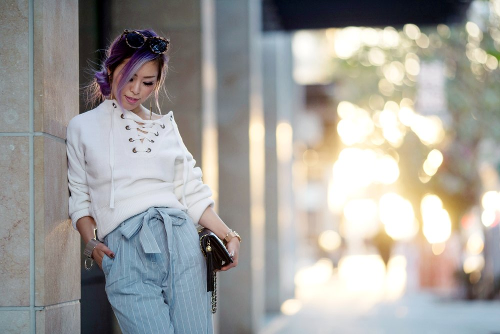 Zaful Lace-up Sweater_Zaful Tie West Striped Trousers_Vintage Chanel Tassel Bag_ALDO Studded pumps_Urban Outfitters Sunglasses_Forever 21 Hoop Statement Bracelet_Marc Bale Rose Gold Watch_Aikas Love Closet_Seattle Fashion Blogger_Japanese Fashion_Lavender Hair_Purple Hair