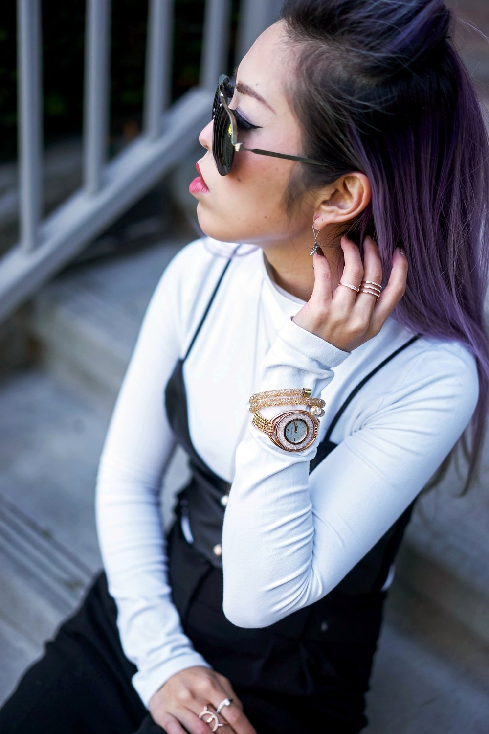 Missguided long sleeve turtle neck bodysuit white_ZARA Leather Bralette Crop top_Swarovski Forward Necklace & Funk Necklace & Fantastic Pierced Earrings & Crystalline Oval Rose Gold Tone Bracelet Watch & Crystal & Crystaldust Bangle Double, Golden Crystal & Flash Ring & Fresh Ring_Aikas Love Closet_Seattle Fashion Blogger_Japanese_Lavender Hair_Colored Hair