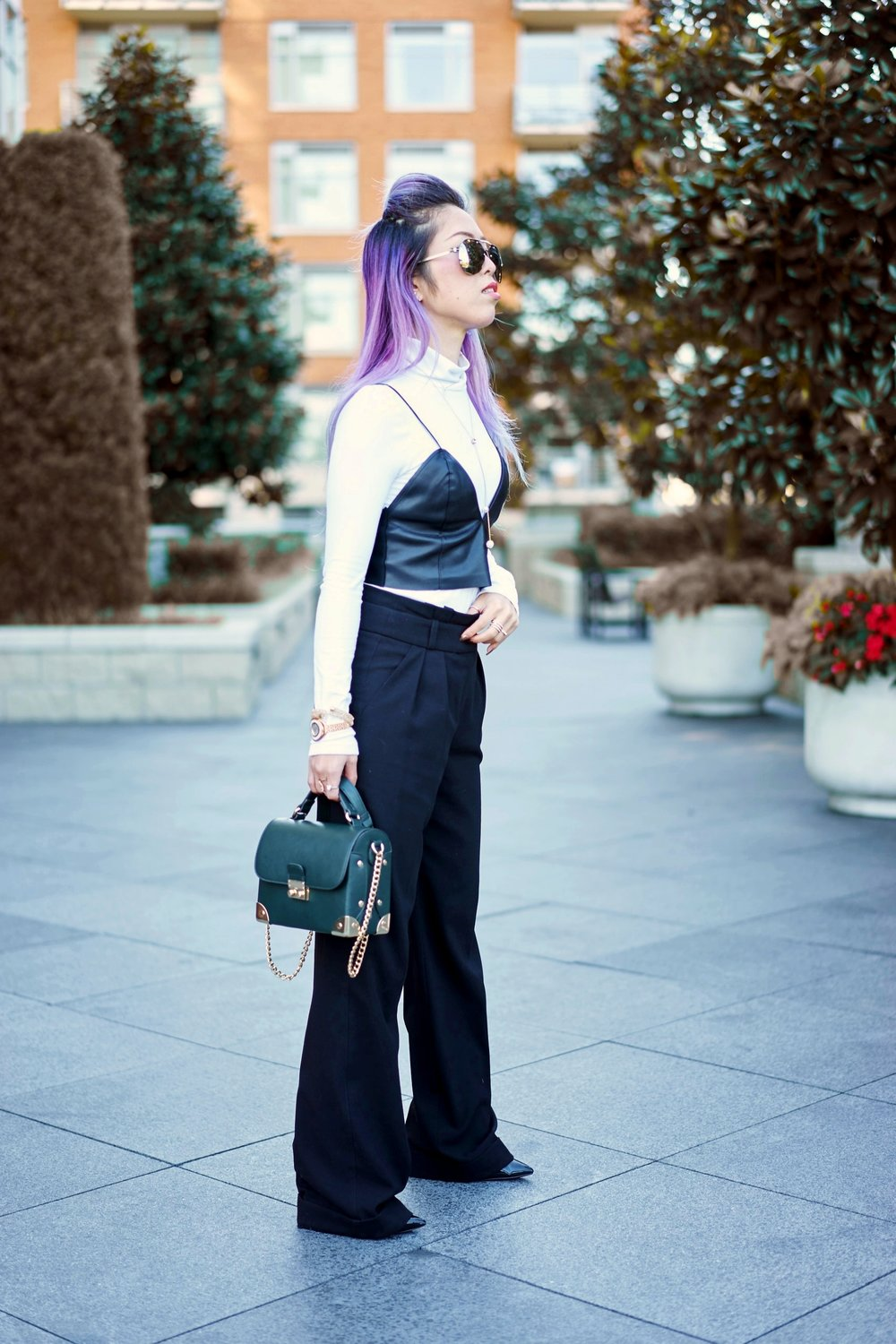 No Weekends Mirrored Aviator Sunglasses_Missguided long sleeve turtle neck bodysuit white_ZARA Leather Bralette Crop top_TOPSHOP Wide Trousers_ALDO Patent Ankle Boots_Forever 21 Boxy Bag_Swarovski Forward Necklace & Funk Necklace & Fantastic Pierced Earrings & Crystalline Oval Rose Gold Tone Bracelet Watch & Crystal & Crystaldust Bangle Double, Golden Crystal_Aikas Love Closet_Seattle Fashion Blogger_Japanese_Lavender Hair_Colored Hair
