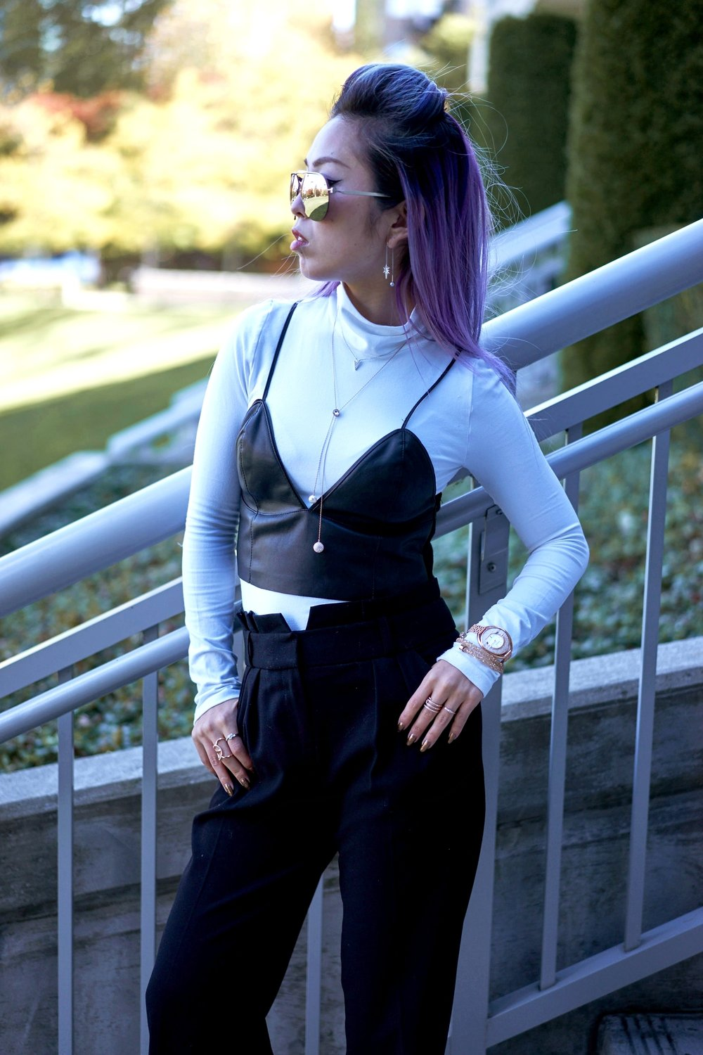 Missguided long sleeve turtle neck bodysuit white_ZARA Leather Bralette Crop top_Swarovski Forward Necklace & Fantastic Pierced Earrings & Funk Necklace & Fantastic Pierced Earrings & Crystalline Oval Rose Gold Tone Bracelet Watch & Crystal & Crystaldust Bangle Double, Golden Crystal & Flash Ring & Fresh Ring & Frisson Ring & Creativity Coiled Ring_Aikas Love Closet_Seattle Fashion Blogger_Japanese_Lavender Hair_Colored Hair
