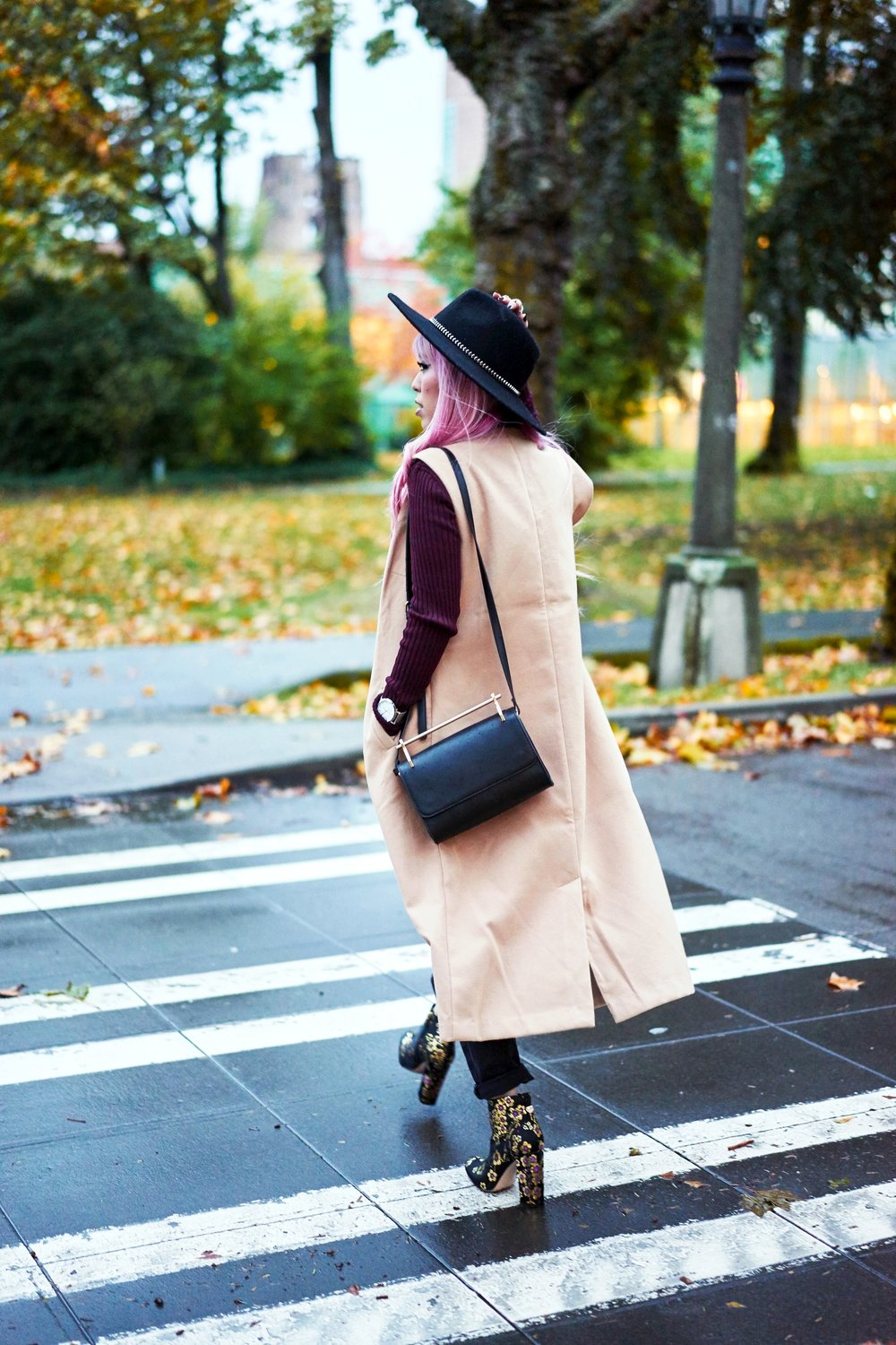 Forever 21 Fedora_Who What Wear : Target Rib Turtleneck_ASOS High Waist Mom Jeans_Ego Floral Print Ankle Boots_Christian Paul Marble Watch_Aika's Love Closet_Seattle Fashion Blogger_Japanese_Pink Hair 14