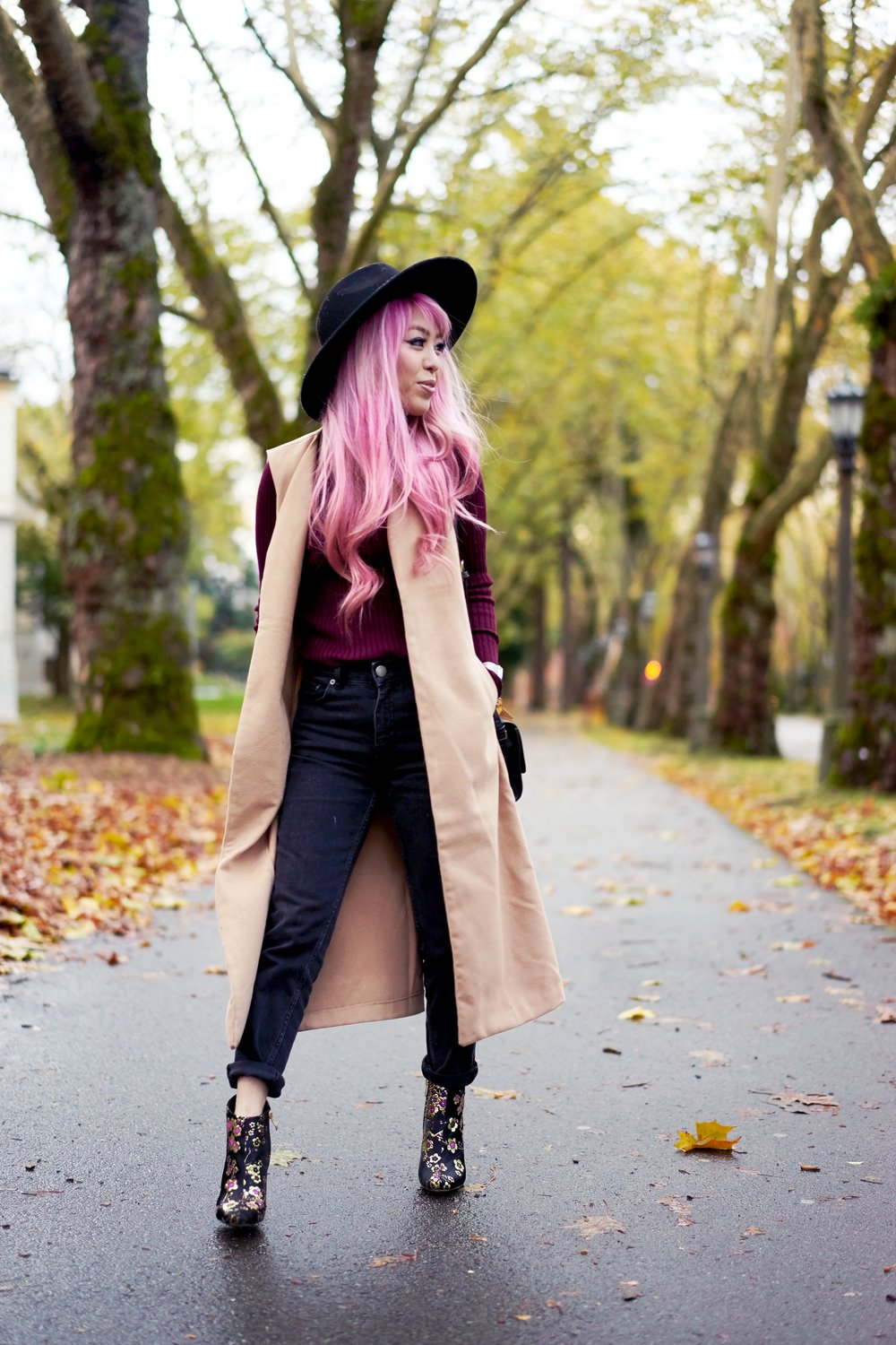 Forever 21 Fedora_Who What Wear : Target Rib Turtleneck_ASOS High Waist Mom Jeans_Ego Floral Print Ankle Boots_Christian Paul Marble Watch_Aika's Love Closet_Seattle Fashion Blogger_Japanese_Pink Hair 15