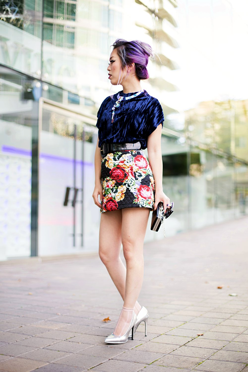 ZARA Blue Velvet Top_Forever 21 Floral Print Mini Skirt_Mango Patent Belt_Kate Spade Sheer Ankle Socks_Qupid Silver Pumps_Aldo Cateye Sunglasses_Swarovski Fluorescent Necklace & Fluorescent Ring_Aika's Love Closet_Seattle Fashion Blogger_Japanese_Lavender Hair_Mermaid Hair 2