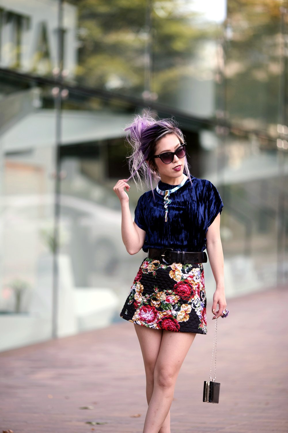 ZARA Blue Velvet Top_Forever 21 Floral Print Mini Skirt_Mango Patent Belt_Kate Spade Sheer Ankle Socks_Qupid Silver Pumps_Aldo Cateye Sunglasses_Swarovski Fluorescent Necklace & Fluorescent Ring_Aika's Love Closet_Seattle Fashion Blogger_Japanese_Lavender Hair_Mermaid Hair 3