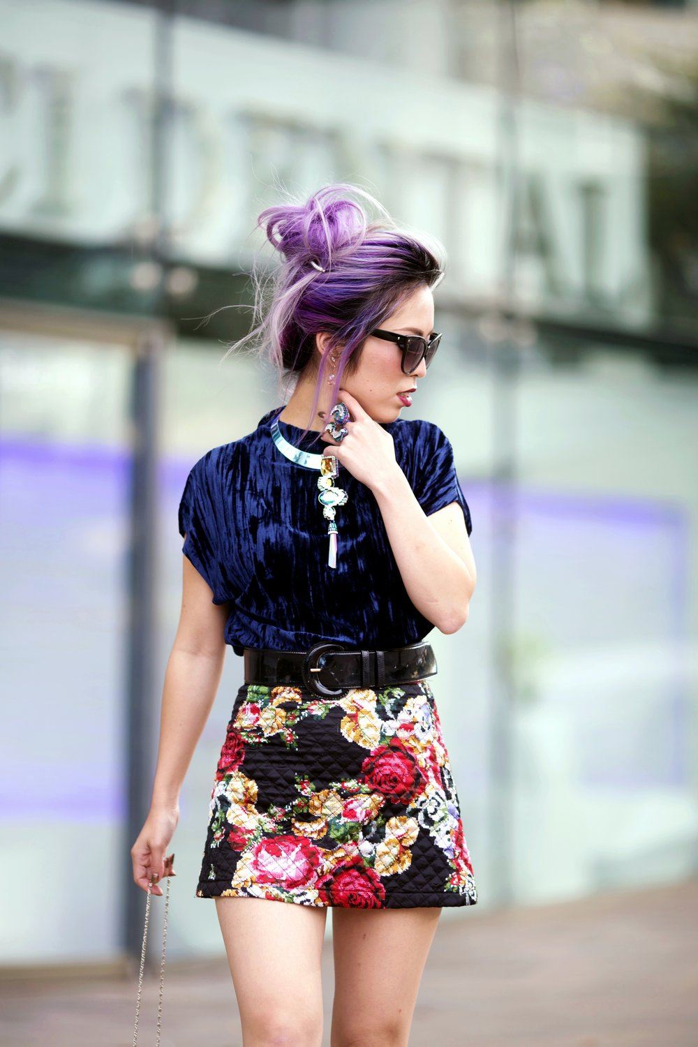 ZARA Blue Velvet Top_Forever 21 Floral Print Mini Skirt_Mango Patent Belt_Kate Spade Sheer Ankle Socks_Qupid Silver Pumps_Aldo Cateye Sunglasses_Swarovski Fluorescent Necklace & Fluorescent Ring_Aika's Love Closet_Seattle Fashion Blogger_Japanese_Lavender Hair_Mermaid Hair 5