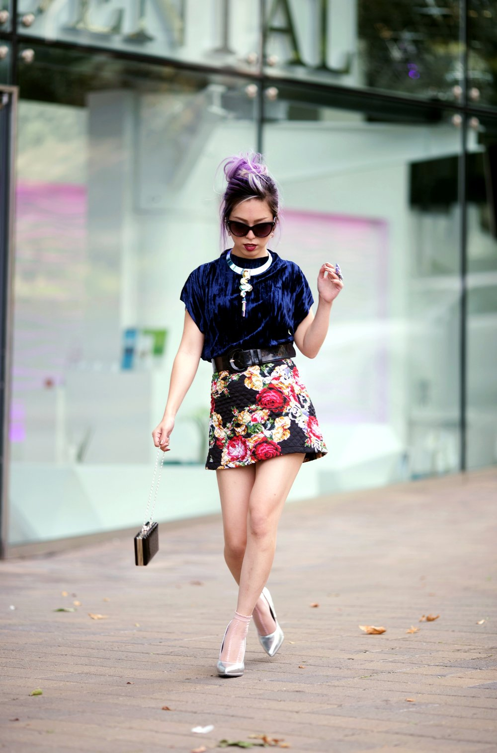 ZARA Blue Velvet Top_Forever 21 Floral Print Mini Skirt_Mango Patent Belt_Kate Spade Sheer Ankle Socks_Qupid Silver Pumps_Aldo Cateye Sunglasses_Swarovski Fluorescent Necklace & Fluorescent Ring_Aika's Love Closet_Seattle Fashion Blogger_Japanese_Lavender Hair_Mermaid Hair 7