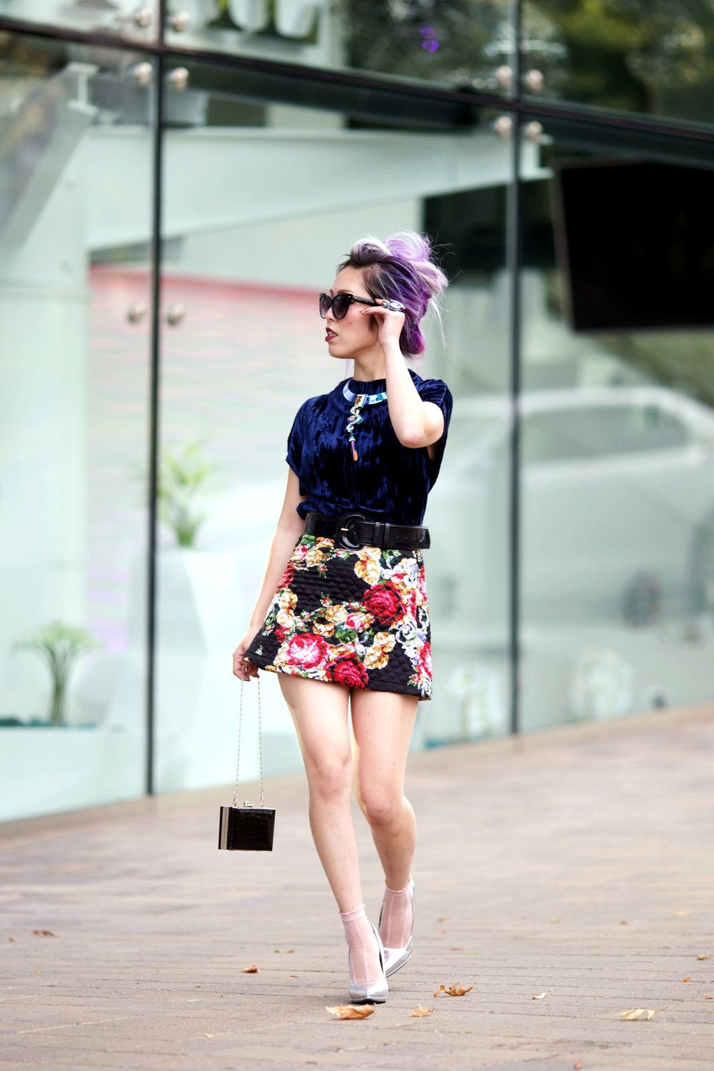 ZARA Blue Velvet Top_Forever 21 Floral Print Mini Skirt_Mango Patent Belt_Kate Spade Sheer Ankle Socks_Qupid Silver Pumps_Aldo Cateye Sunglasses_Swarovski Fluorescent Necklace & Fluorescent Ring_Aika's Love Closet_Seattle Fashion Blogger_Japanese_Lavender Hair_Mermaid Hair 17