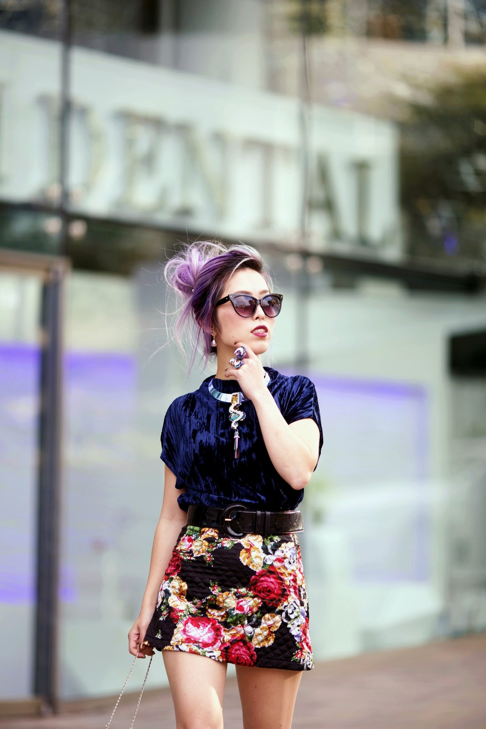 ZARA Blue Velvet Top_Forever 21 Floral Print Mini Skirt_Mango Patent Belt_Kate Spade Sheer Ankle Socks_Qupid Silver Pumps_Aldo Cateye Sunglasses_Swarovski Fluorescent Necklace & Fluorescent Ring_Aika's Love Closet_Seattle Fashion Blogger_Japanese_Lavender Hair_Mermaid Hair 18