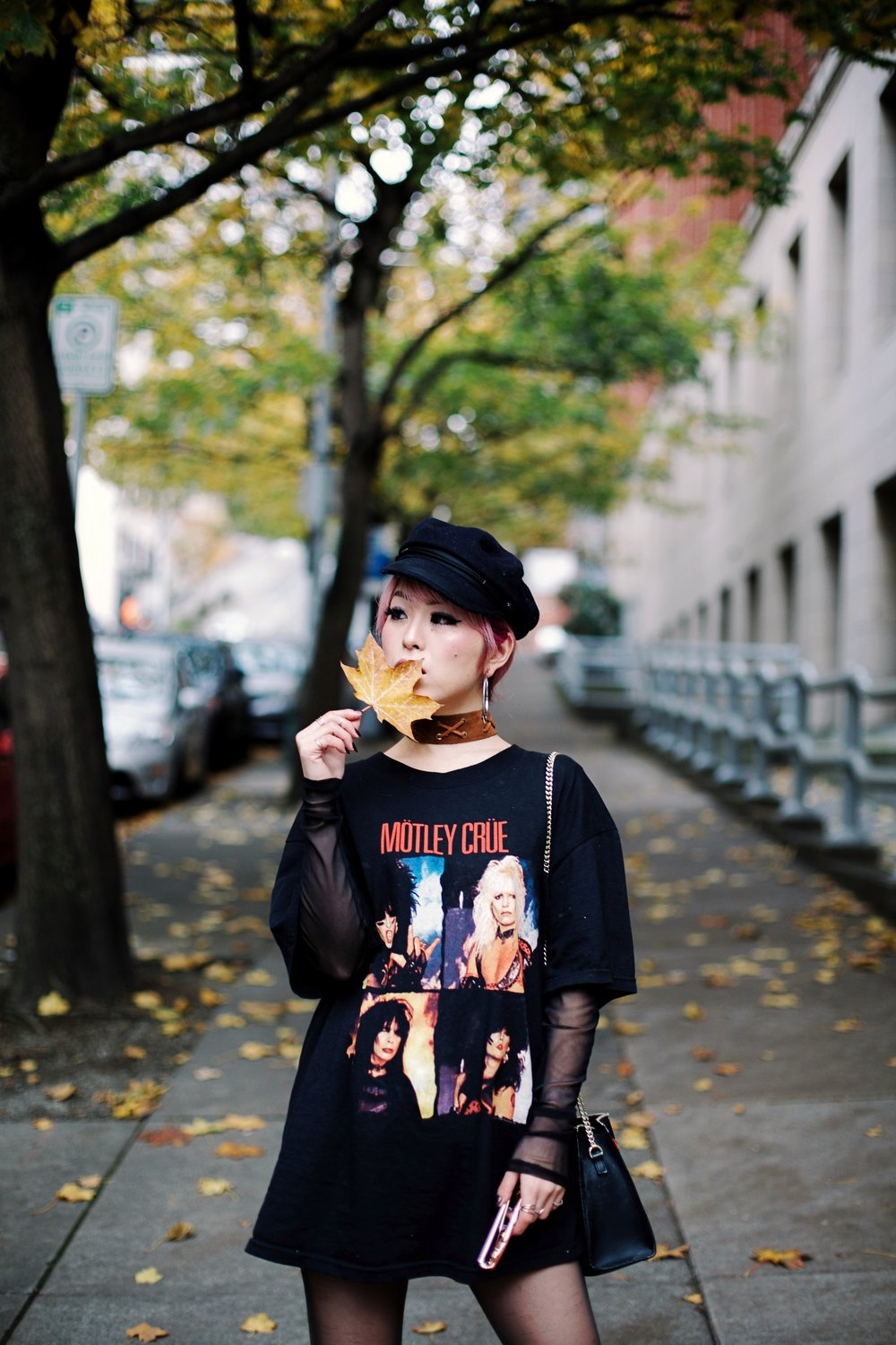Isabel Marant Hat-Forever 21 hoop earrings-Free People Double Crossed Suede Choker-Vintage Rock T-shirt-Zara sheer top & EMBROIDERED CLUTCH-Aika's love Closet-Seattle Fashion Blogger-Japanese-Pink hair-Colored Hair