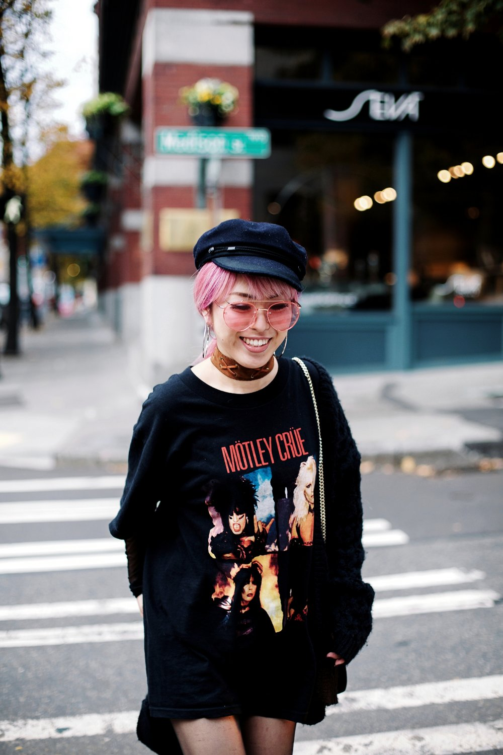 No Weekends Pink Tinted Sunglasses-Isabel Marant Hat-Forever 21 hoop earrings-Free People Double Crossed Suede Choker-Vintage Rock T-shirt-Zara sheer top & EMBROIDERED CLUTCH-H&M Chunky Cardigan-Aika's love Closet-Seattle Fashion Blogger-Japanese-Pink hair-Colored Hair