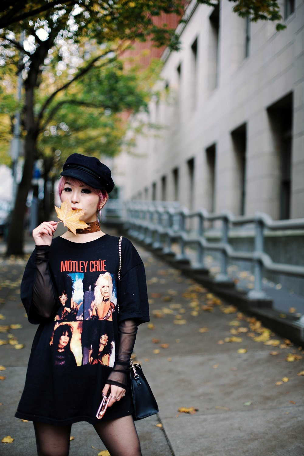 Isabel Marant Hat-Forever 21 hoop earrings-Free People Double Crossed Suede Choker-Vintage Rock T-shirt-Zara sheer top & EMBROIDERED CLUTCH-Aika's love Closet-Seattle Fashion Blogger-Japanese-Pink hair-Colored Hair 6