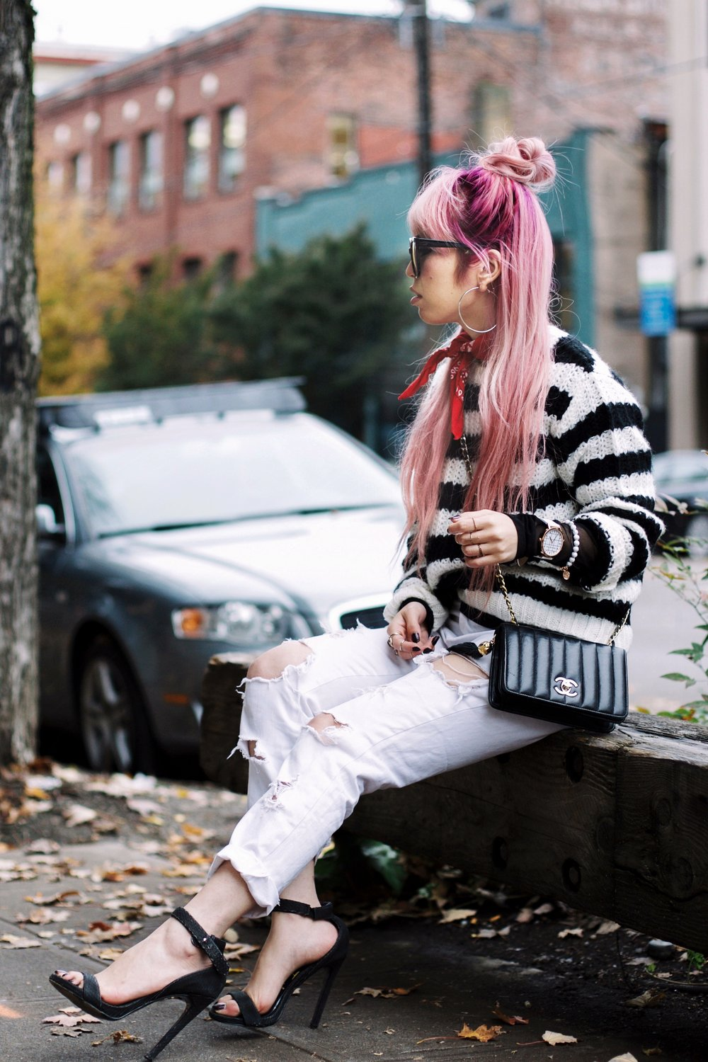 Urban Outfitters Sunglasses & Red bandana-Who What Wear Striped Crew Sweater-Target-Zara Distressed white boyfriend Jeans & Black Sheer Top-Vintage Chanel Crossbody Bag-ASOS Ankle Strap Sandals-Christian Paul Grid White Watch-Aika's Love Closet-Seattle Fashion Blogger-Japanese-Pink Hair-Half Top Knot Hair