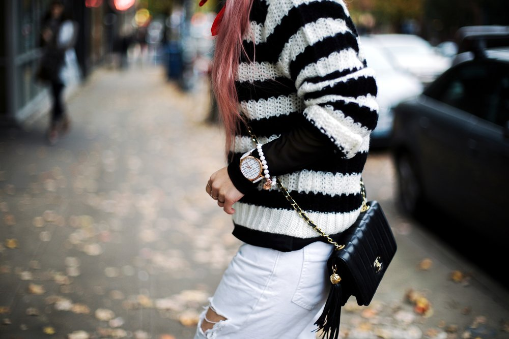 Urban Outfitters Sunglasses & Red bandana-Who What Wear Striped Crew Sweater-Target-Zara Distressed white boyfriend Jeans & Black Sheer Top-Vintage Chanel Crossbody Bag-ASOS Ankle Strap Sandals-Christian Paul Grid White Watch-Aika's Love Closet-Seattle Fashion Blogger-Japanese-Pink Hair-Half Top Knot Hair 8