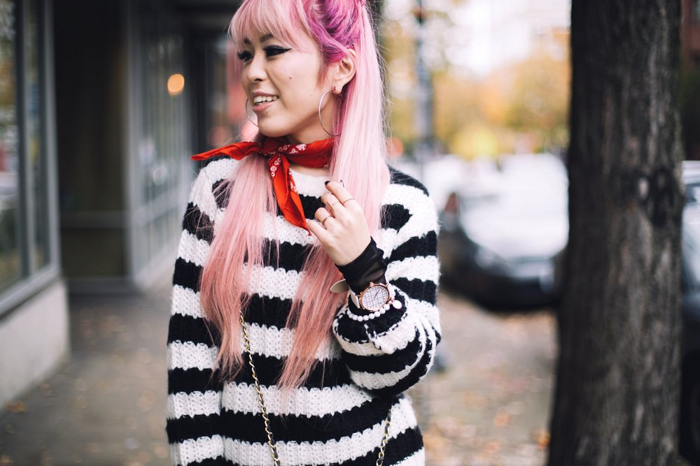 Urban Outfitters Sunglasses & Red bandana-Who What Wear Striped Crew Sweater-Target-Zara Distressed white boyfriend Jeans & Black Sheer Top-Vintage Chanel Crossbody Bag-ASOS Ankle Strap Sandals-Christian Paul Grid White Watch-Aika's Love Closet-Seattle Fashion Blogger-Japanese-Pink Hair-Half Top Knot Hair 9