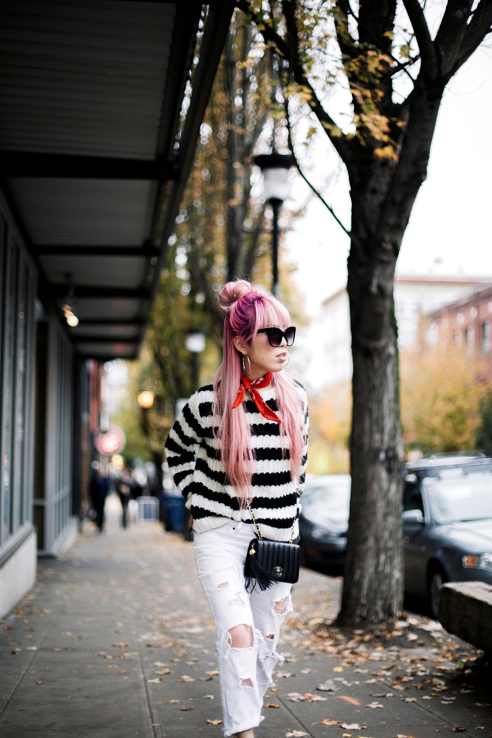 Urban Outfitters Sunglasses & Red bandana-Who What Wear Striped Crew Sweater-Target-Zara Distressed white boyfriend Jeans & Black Sheer Top-Vintage Chanel Crossbody Bag-ASOS Ankle Strap Sandals-Christian Paul Grid White Watch-Aika's Love Closet-Seattle Fashion Blogger-Japanese-Pink Hair-Half Top Knot Hair 10