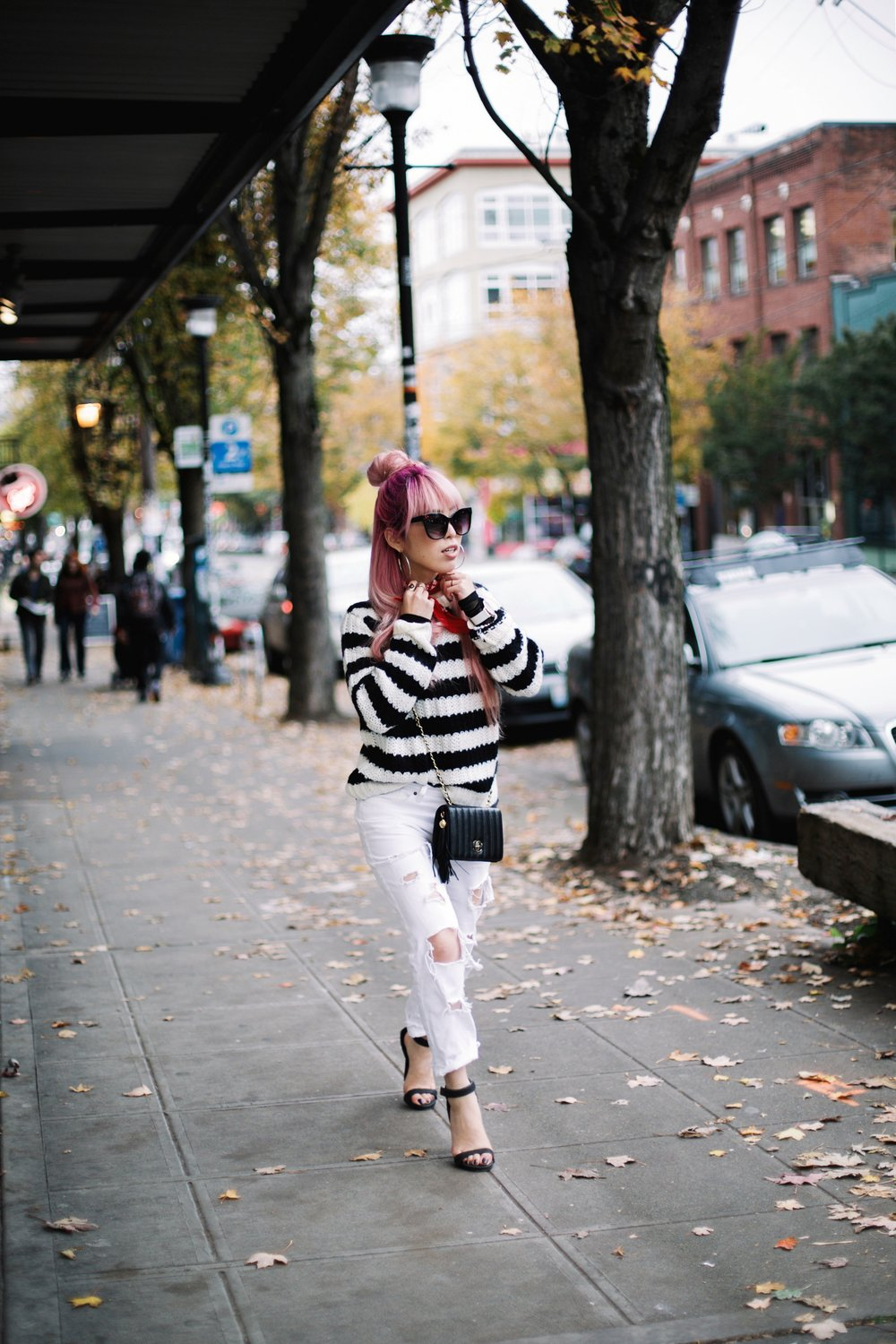 Urban Outfitters Sunglasses & Red bandana-Who What Wear Striped Crew Sweater-Target-Zara Distressed white boyfriend Jeans & Black Sheer Top-Vintage Chanel Crossbody Bag-ASOS Ankle Strap Sandals-Christian Paul Grid White Watch-Aika's Love Closet-Seattle Fashion Blogger-Japanese-Pink Hair-Half Top Knot Hair 11