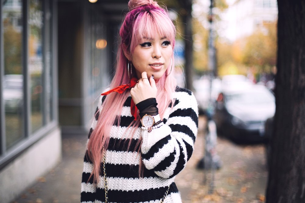 Urban Outfitters Sunglasses & Red bandana-Who What Wear Striped Crew Sweater-Target-Zara Distressed white boyfriend Jeans & Black Sheer Top-Vintage Chanel Crossbody Bag-ASOS Ankle Strap Sandals-Christian Paul Grid White Watch-Aika's Love Closet-Seattle Fashion Blogger-Japanese-Pink Hair-Half Top Knot Hair 13