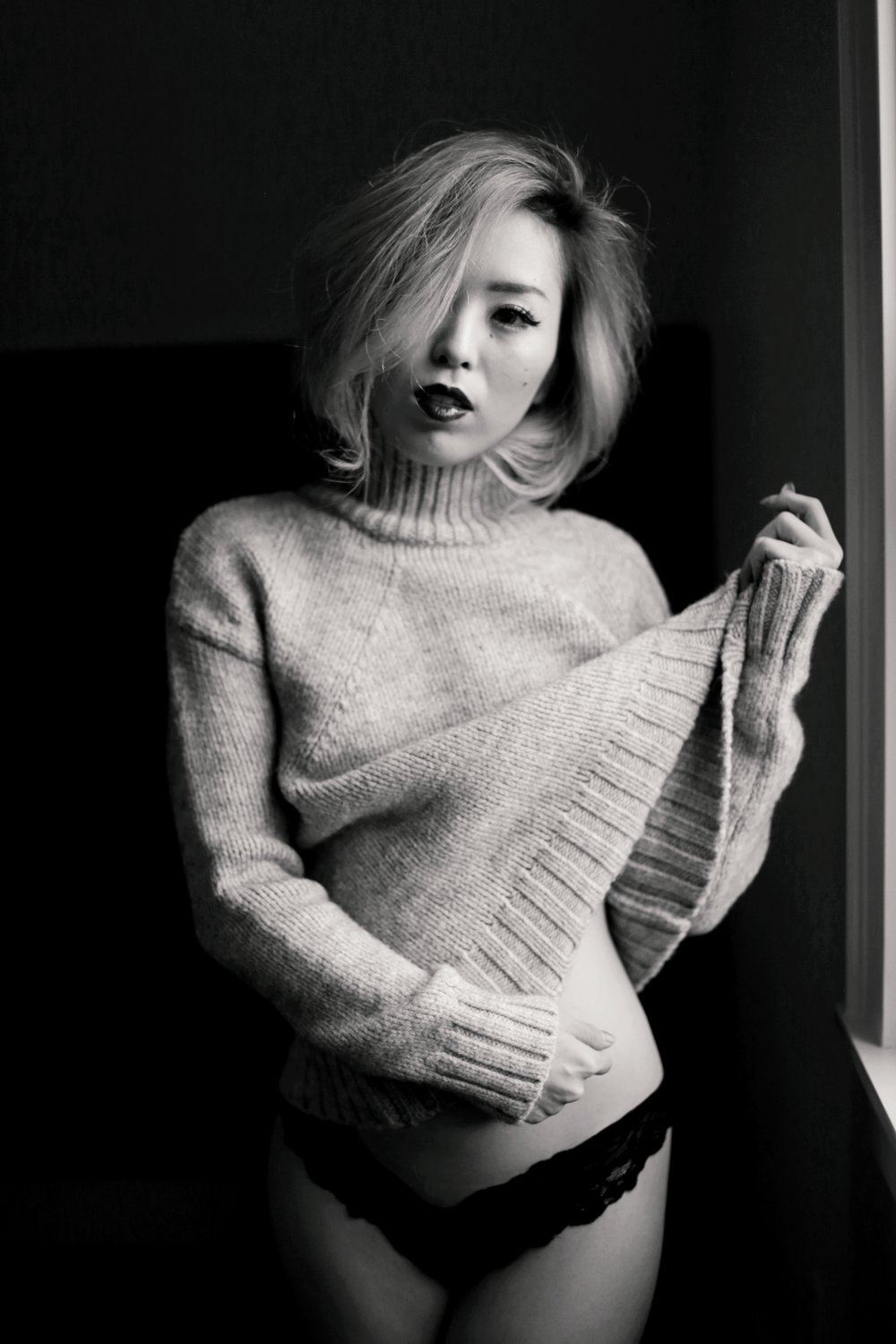 Boudoir Photo-black and white photography-sweater weather-turtle neck sweater-black lingerie-dark lipstick-japanese-Aika's Love Closet-Seattle model-Seattle Style blogger 2
