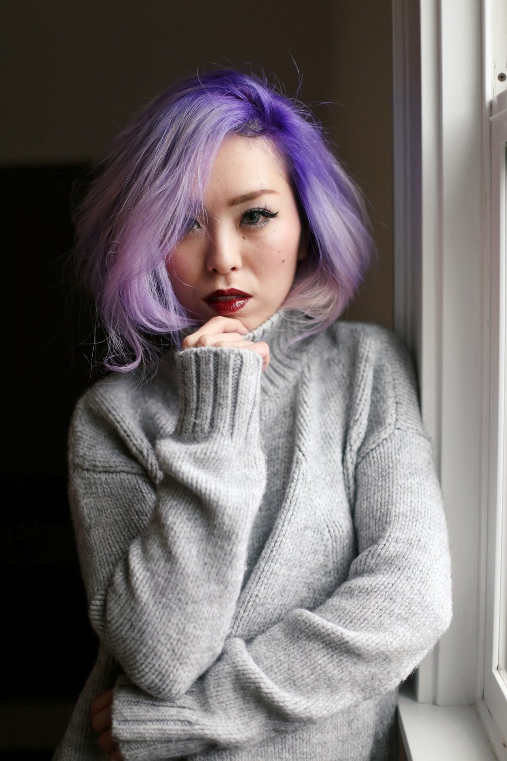 Boudoir Photo-black and white photography-sweater weather-turtle neck sweater-black lingerie-dark lipstick-japanese-Aika's Love Closet-Seattle model-Seattle Style blogger-Lavender Hair-colored Hair-Mermaid Hair-zara Sweater