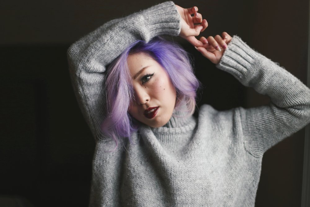 Boudoir Photo-black and white photography-sweater weather-turtle neck sweater-black lingerie-dark lipstick-japanese-Aika's Love Closet-Seattle model-Seattle Style blogger-Lavender Hair-colored Hair-Mermaid Hair-zara Sweater 2