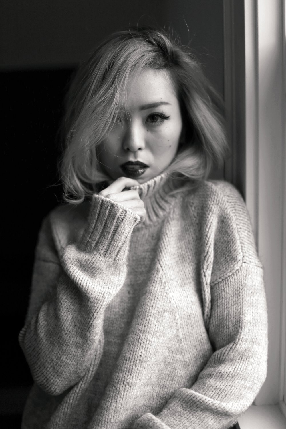 Boudoir Photo-black and white photography-sweater weather-turtle neck sweater-black lingerie-dark lipstick-japanese-Aika's Love Closet-Seattle model-Seattle Style blogger 5