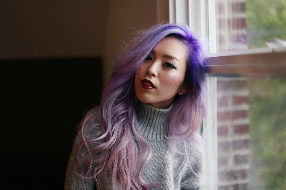 Boudoir Photo-black and white photography-sweater weather-turtle neck sweater-black lingerie-dark lipstick-japanese-Aika's Love Closet-Seattle model-Seattle Style blogger-Lavender Hair-colored Hair-Mermaid Hair-Zara Sweater 12