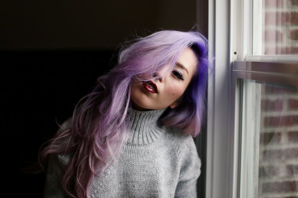 Boudoir Photo-black and white photography-sweater weather-turtle neck sweater-black lingerie-dark lipstick-japanese-Aika's Love Closet-Seattle model-Seattle Style blogger-Lavender Hair-colored Hair-Mermaid Hair-Zara Sweater 13