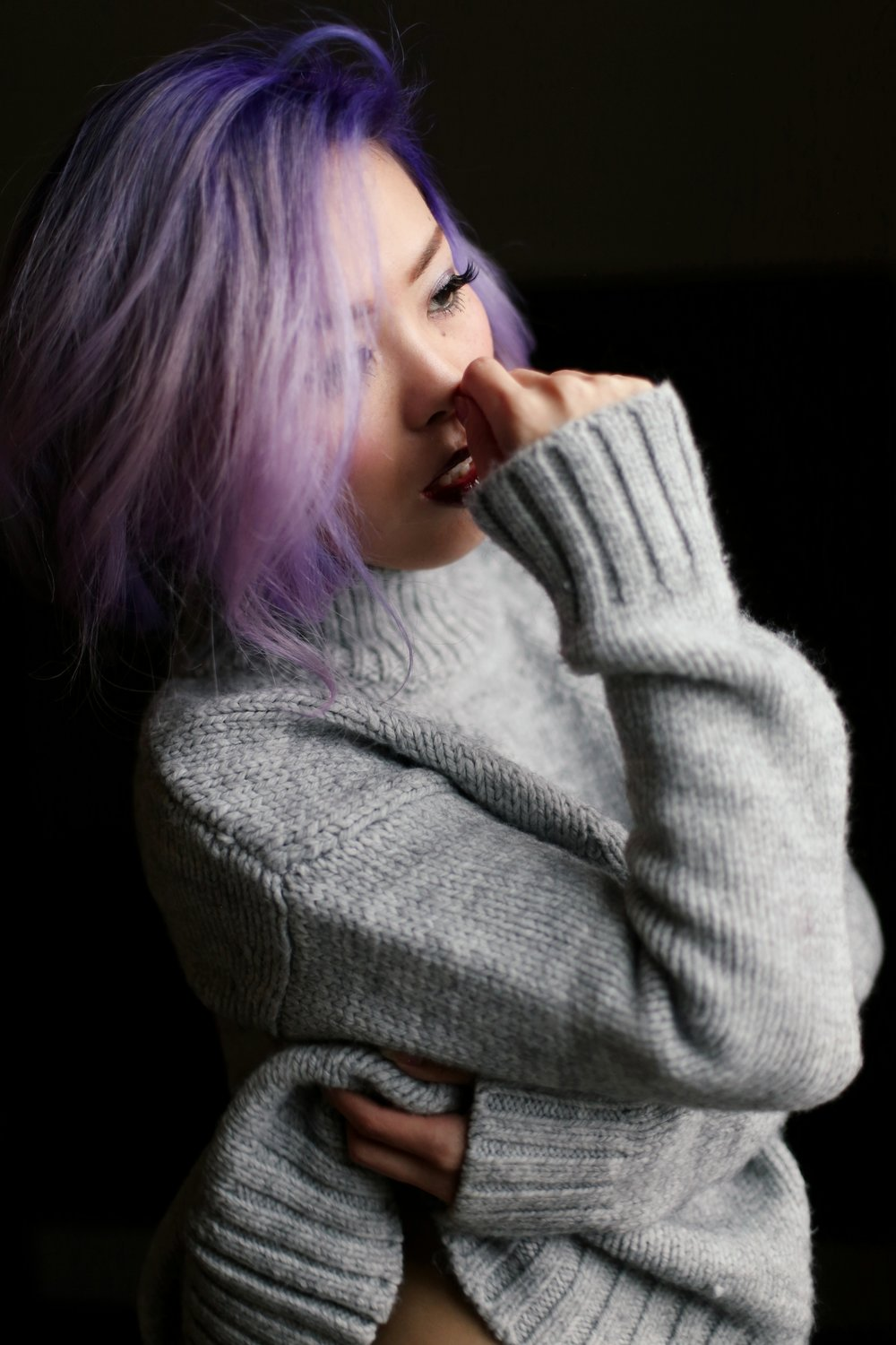 Boudoir Photo-black and white photography-sweater weather-turtle neck sweater-black lingerie-dark lipstick-japanese-Aika's Love Closet-Seattle model-Seattle Style blogger-Lavender Hair-colored Hair-Mermaid Hair-Zara Sweater 14