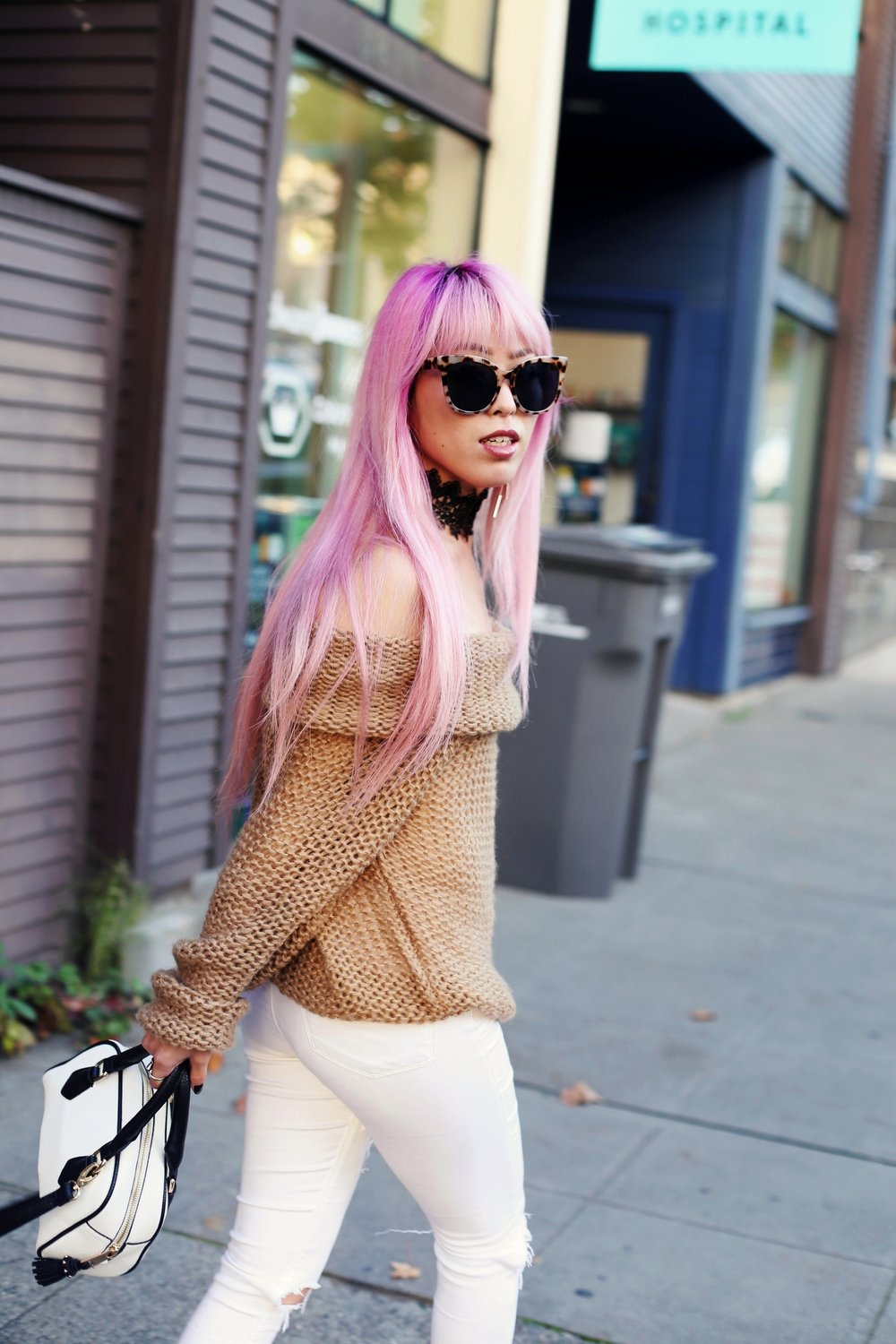Urban Outfitters Sunglasses_Camel Off The Shoulder Sweater_TOPSHOP white jeans_ZARA Bag_ASOS Snake Skin Heels_Shop Dixi Lace Choker_Aika's Love Closet_Seattle Fashion Blogger_Japanese_Pink Hair_Colored Hair 3