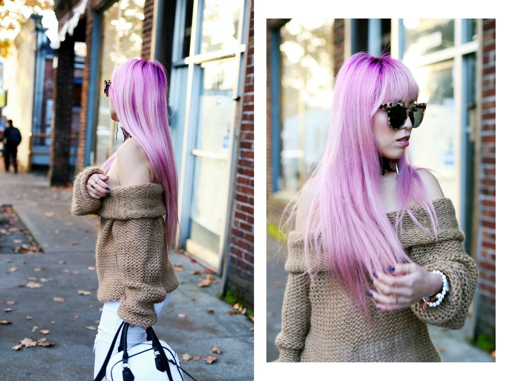 Urban Outfitters Sunglasses_Camel Off The Shoulder Sweater_TOPSHOP white jeans_ZARA Bag_ASOS Snake Skin Heels_Shop Dixi Lace Choker_Aika's Love Closet_Seattle Fashion Blogger_Japanese_Pink Hair_Colored Hair 12