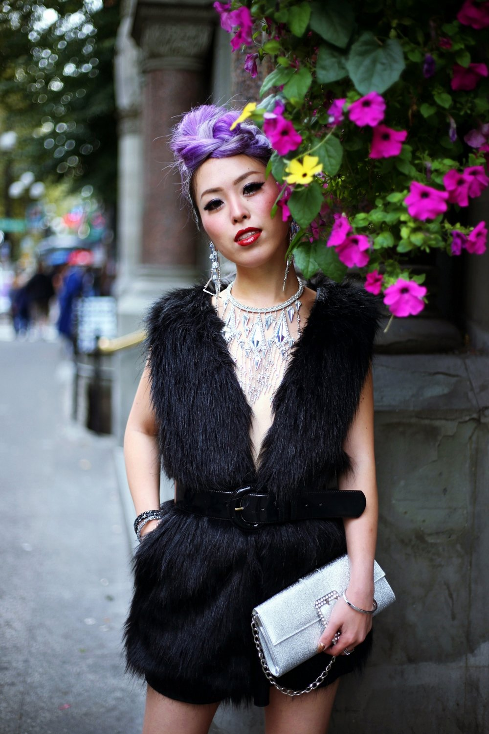 Swarovski Fabulously Necklace &  Fabulously Clip Earrings_Revolve Black Fur Vest_Express Hight Waist Mini Skirt_Mango Patent Belt_Steve Madden Platform Pumps_Swarovski  Crystaldust Bangle Double, Dark Crystals & Gray_Fresh Bangle & Fresh Ring_Fizzy Ring Set_Funk Ring Set_Aika's Love Closet_Seattle Fashion Blogger_Japan_Lavender Hair_Colored Hair_avant garde hairstyle 26