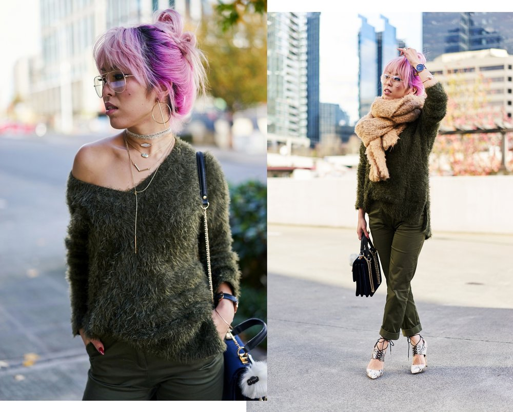 ASOS Oversized Scarf-H&M olive chunky sweater-H&M cropped trousers-ASOS python lace-up pumps-ZARA navy velvet bag-mango earrings-Daniel Wellington Watch-Clear Lens aviator-Aika's Love Closet-Seattle Style blogger-japanese-pink hair-colored hair 6
