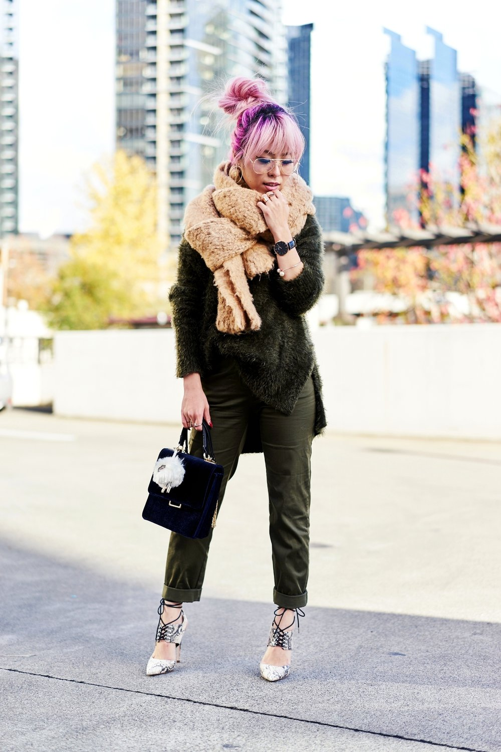 ASOS Oversized Scarf-H&M olive chunky sweater-H&M cropped trousers-ASOS python lace-up pumps-ZARA navy velvet bag-mango earrings-Daniel Wellington Watch-Clear Lens aviator-Aika's Love Closet-Seattle Style blogger-japanese-pink hair-colored hair 7