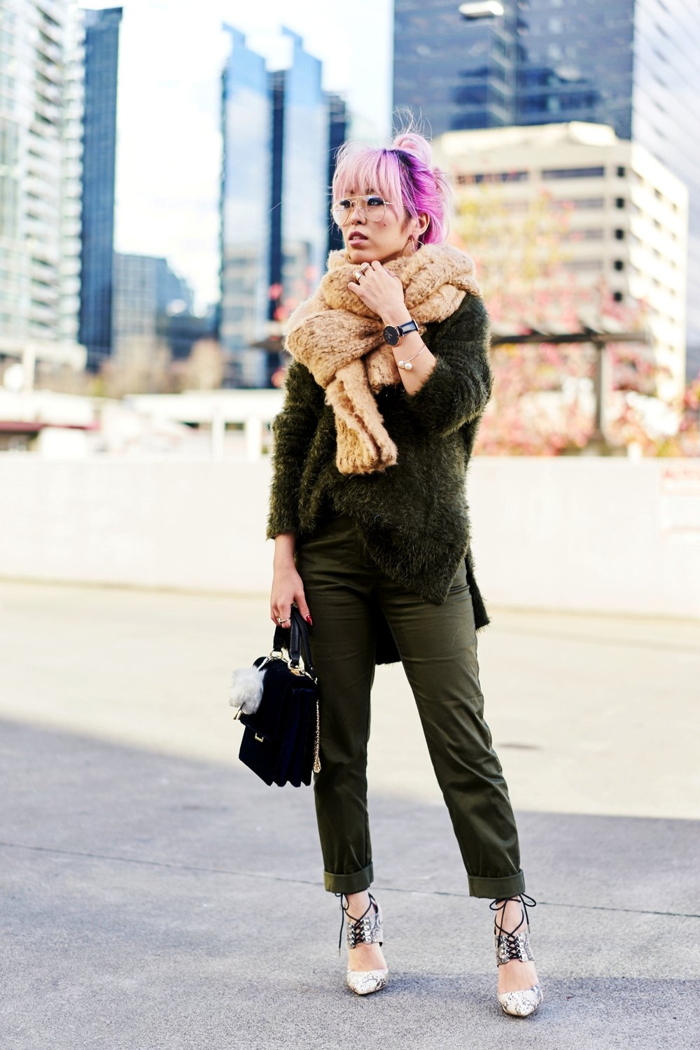 ASOS Oversized Scarf-H&M olive chunky sweater-H&M cropped trousers-ASOS python lace-up pumps-ZARA navy velvet bag-mango earrings-Daniel Wellington Watch-Clear Lens aviator-Aika's Love Closet-Seattle Style blogger-japanese-pink hair-colored hair 10