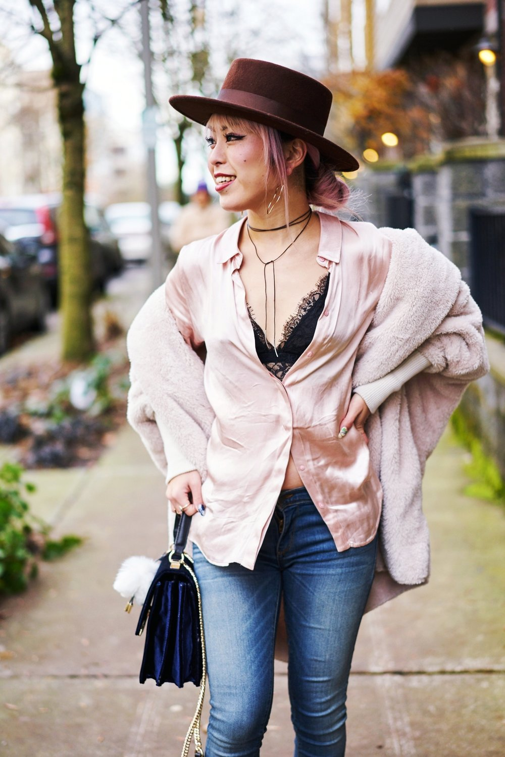 Zara blush satin shirt-Forever 21 Lace Bralette-No Weekends wrap chocker-She In Apricot Hooded Long Sleeve Loose Cardigan-Acne Studios Canada wool Scarf black-zara velvet crossbody bag-hudson jeans skinny jeans-lack of color the coco boater-Justfab KAIYA booties-Aika's love closet-Seattle fashion style blogger-japanese-pink hair 2