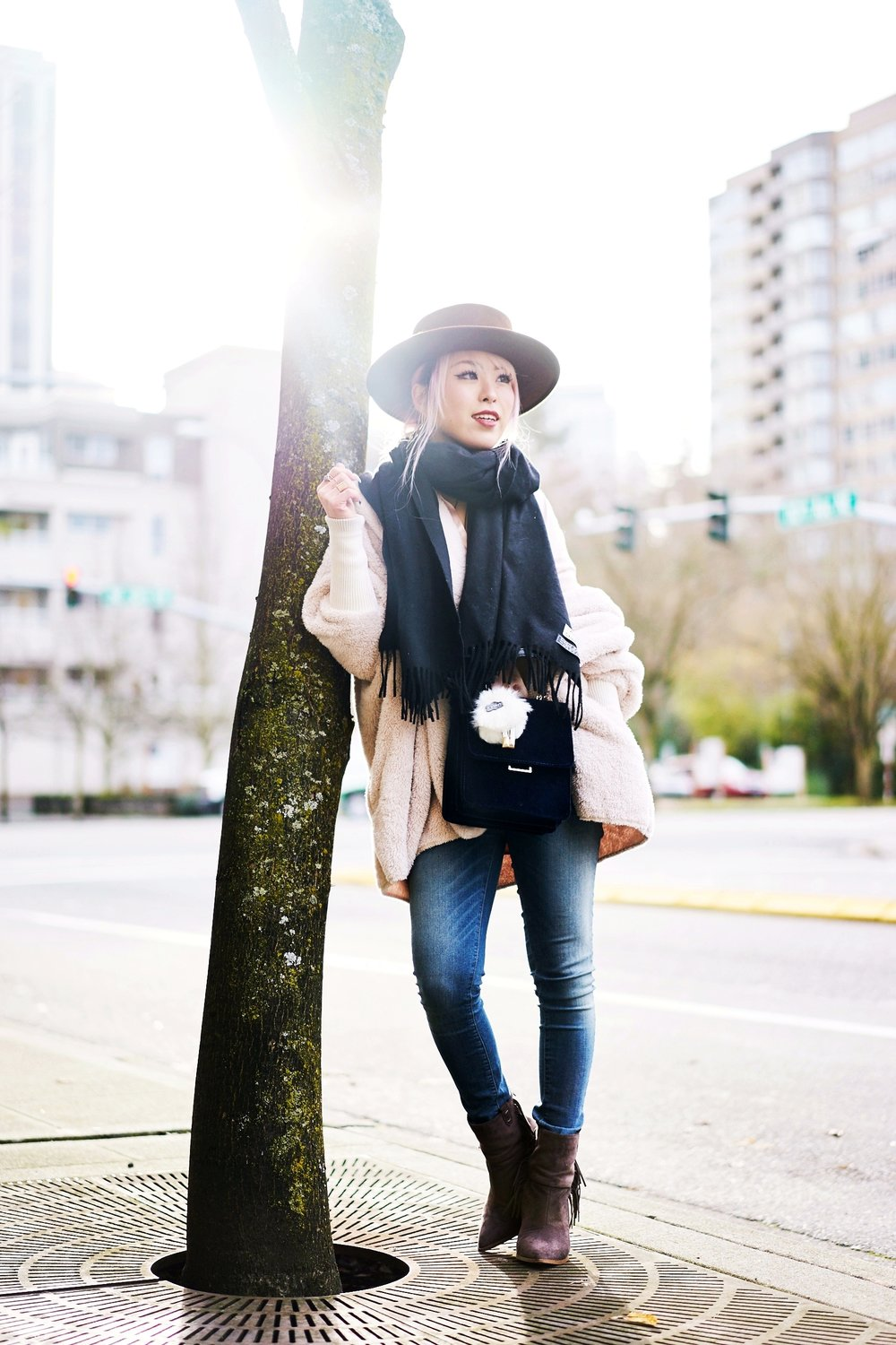 Zara blush satin shirt-Forever 21 Lace Bralette-No Weekends wrap chocker-She In Apricot Hooded Long Sleeve Loose Cardigan-Acne Studios Canada wool Scarf black-zara velvet crossbody bag-hudson jeans skinny jeans-lack of color the coco boater-Justfab KAIYA booties-Aika's love closet-Seattle fashion style blogger-japanese-pink hair 10
