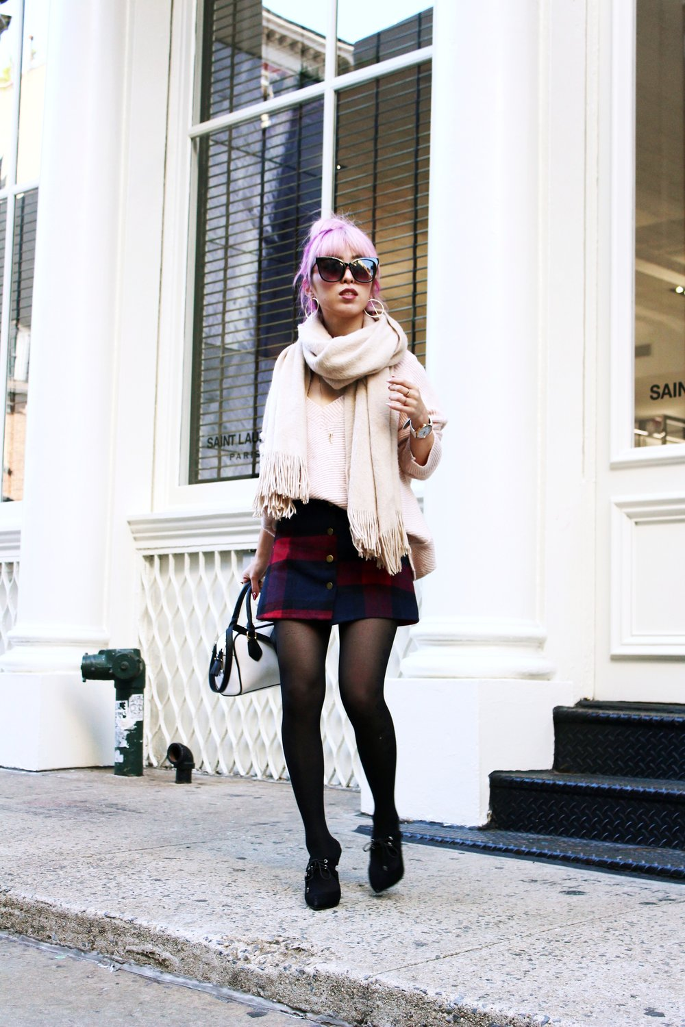Urban Outfitters Cat eye sunglasses-Zara Blush Sweater-H&M scarf-Plaid Mini Skirt-ASOS black mules-zara mini bag