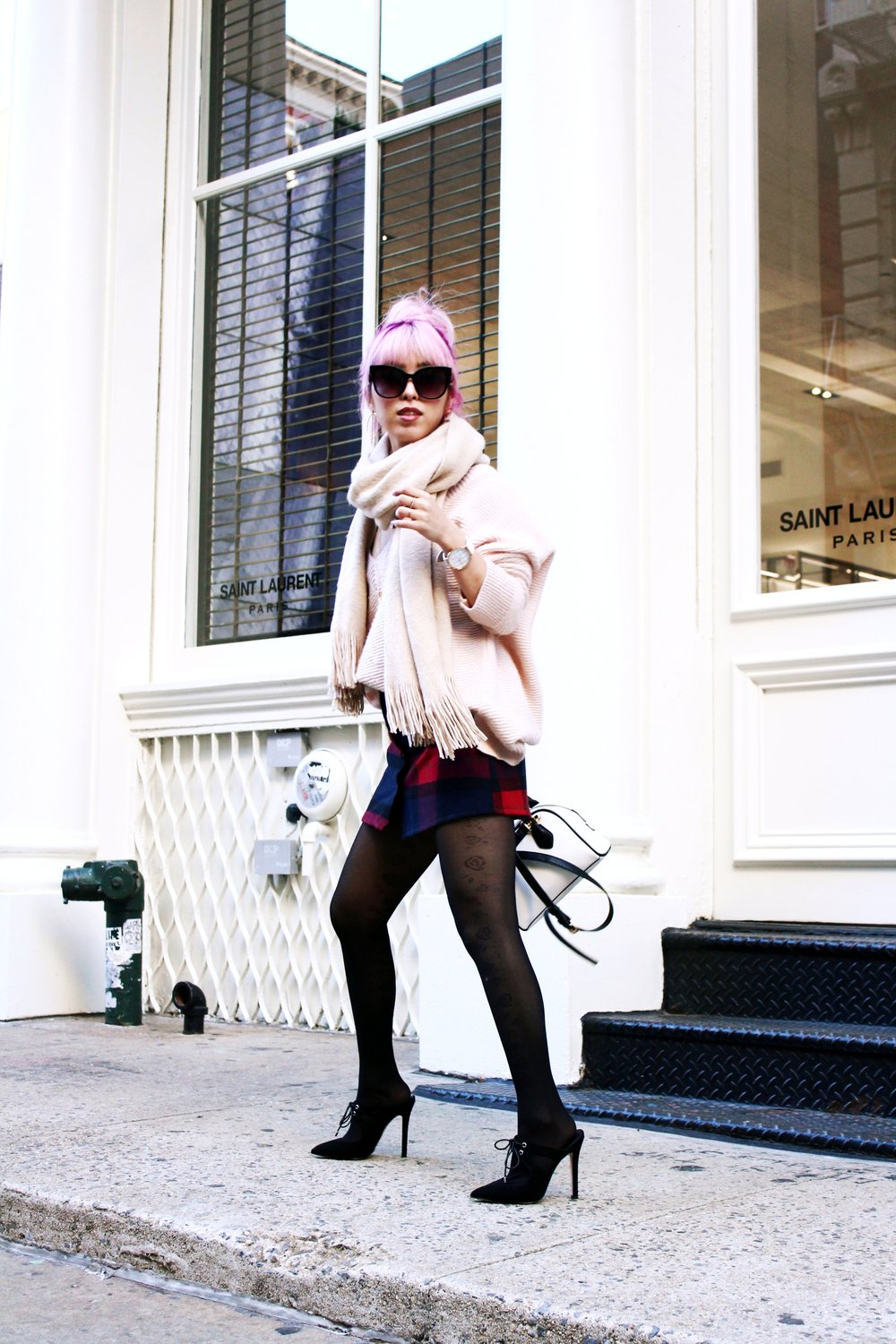 Urban Outfitters Cat eye sunglasses-Zara Blush Sweater-H&M scarf-Plaid Mini Skirt-ASOS black mules-zara mini bag 2