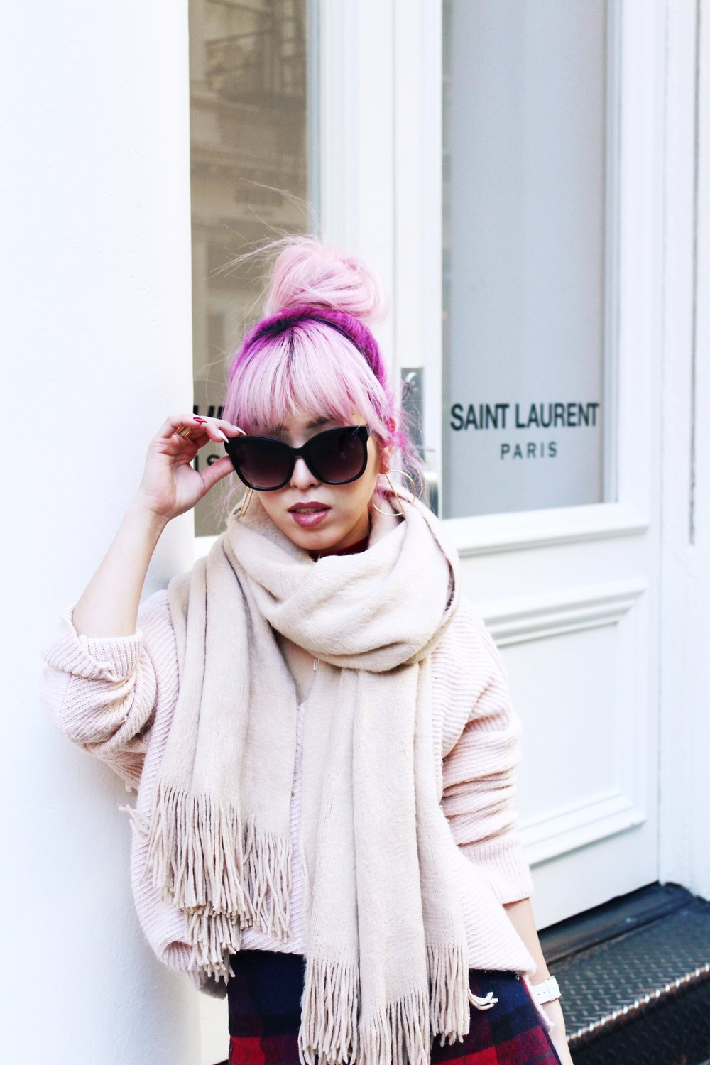 Urban Outfitters Cat eye sunglasses-Zara Blush Sweater-H&M scarf-Plaid Mini Skirt-ASOS black mules-zara mini bag-Aika's Love Closet-Seattle Fashion blogger-Japanese-Pink hair-Colored Hair
