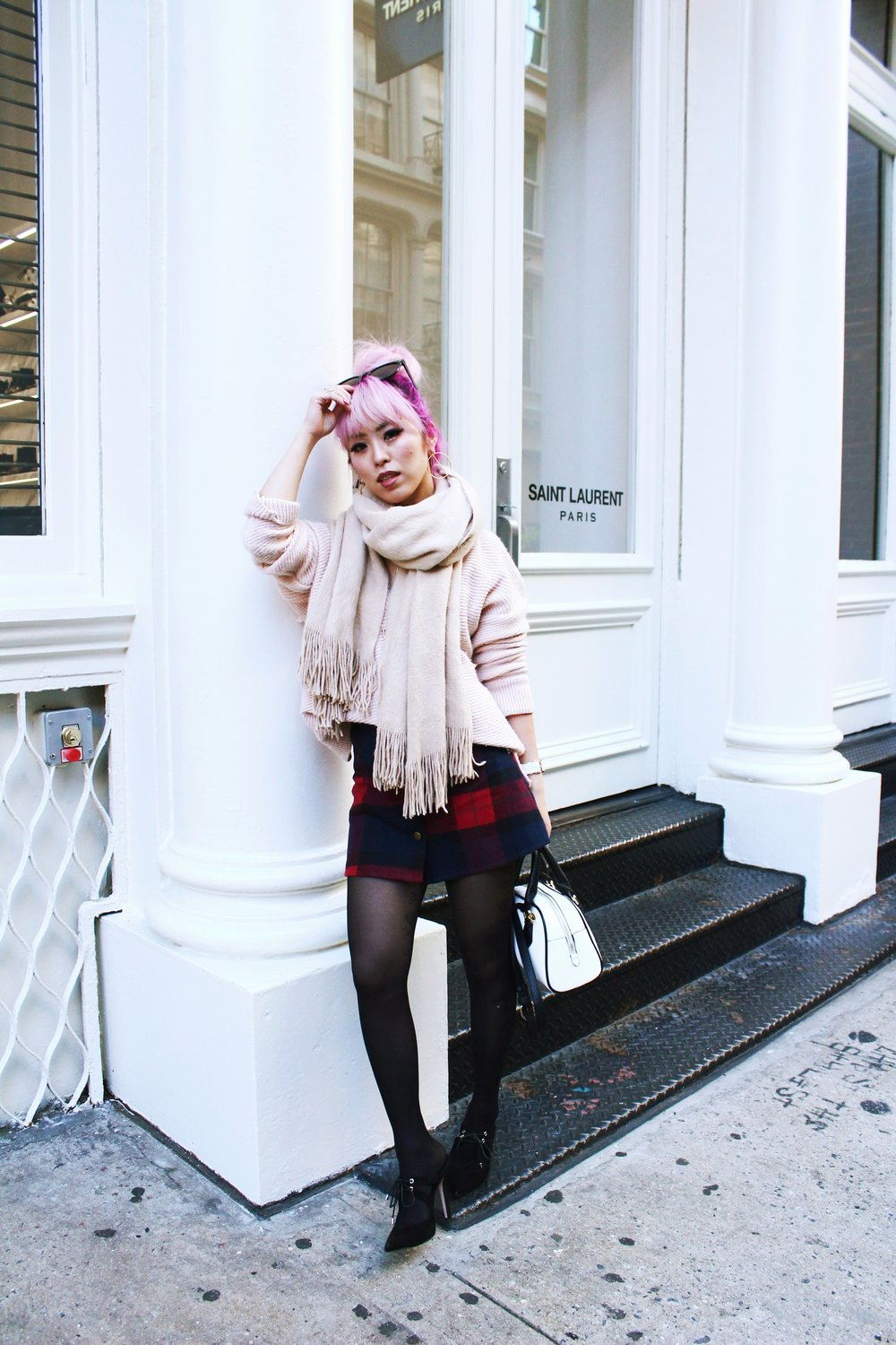 Urban Outfitters Cat eye sunglasses-Zara Blush Sweater-H&M scarf-Plaid Mini Skirt-ASOS black mules-zara mini bag-Aika's Love Closet-Seattle Fashion blogger-Japanese-Pink hair-Colored Hair 2