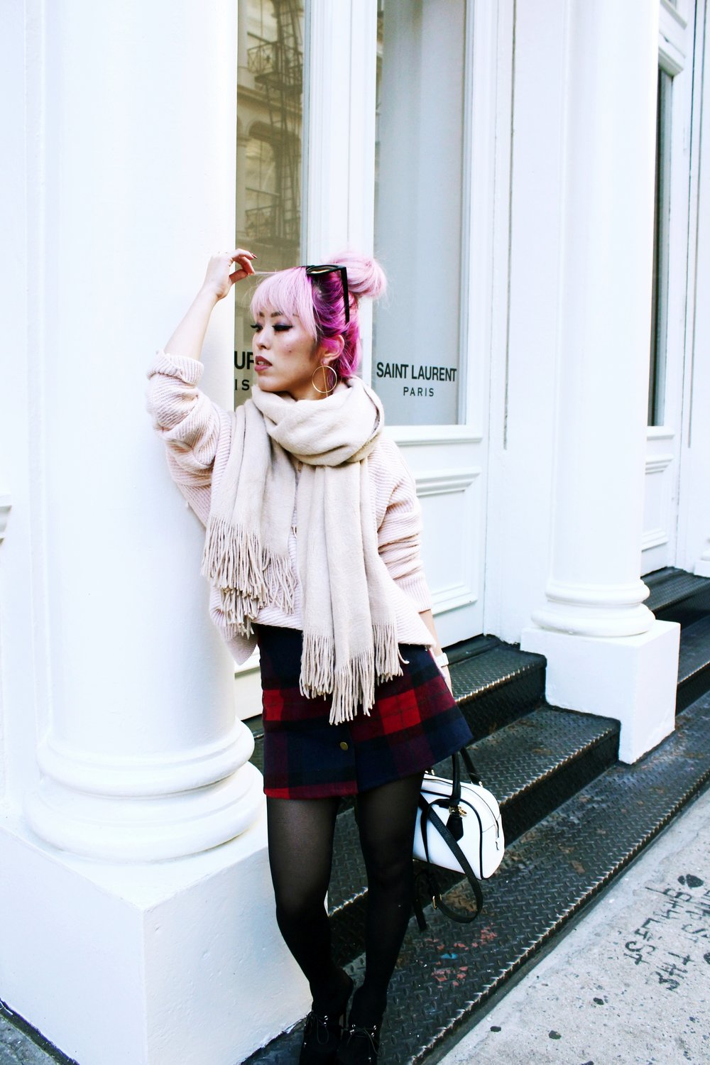 Urban Outfitters Cat eye sunglasses-Zara Blush Sweater-H&M scarf-Plaid Mini Skirt-ASOS black mules-zara mini bag-Aika's Love Closet-Seattle Fashion blogger-Japanese-Pink hair-Colored Hair-nyc soho 5