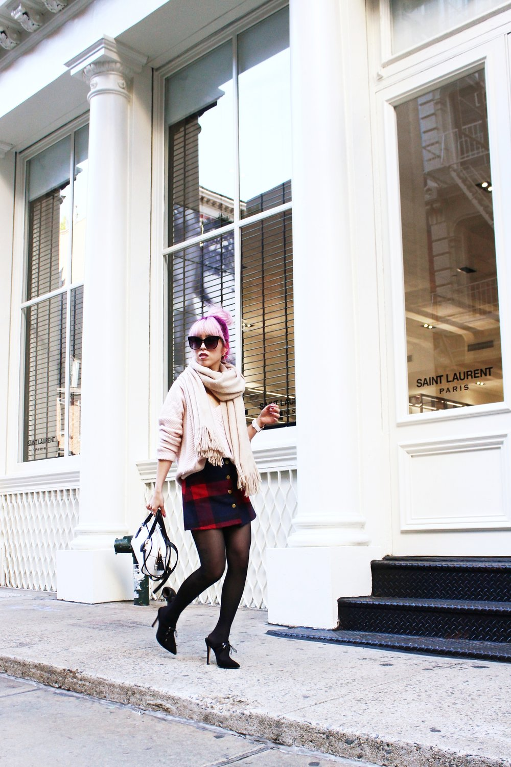 Urban Outfitters Cat eye sunglasses-Zara Blush Sweater-H&M scarf-Plaid Mini Skirt-ASOS black mules-zara mini bag-Aika's Love Closet-Seattle Fashion blogger-Japanese-Pink hair-Colored Hair-nyc soho 7