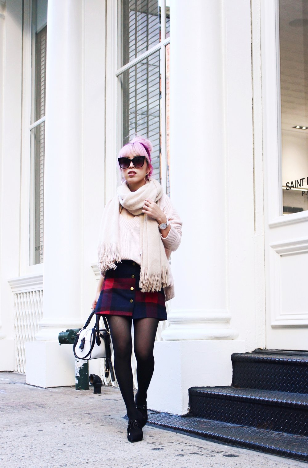 Urban Outfitters Cat eye sunglasses-Zara Blush Sweater-H&M scarf-Plaid Mini Skirt-ASOS black mules-zara mini bag-Aika's Love Closet-Seattle Fashion blogger-Japanese-Pink hair-Colored Hair-nyc soho 9