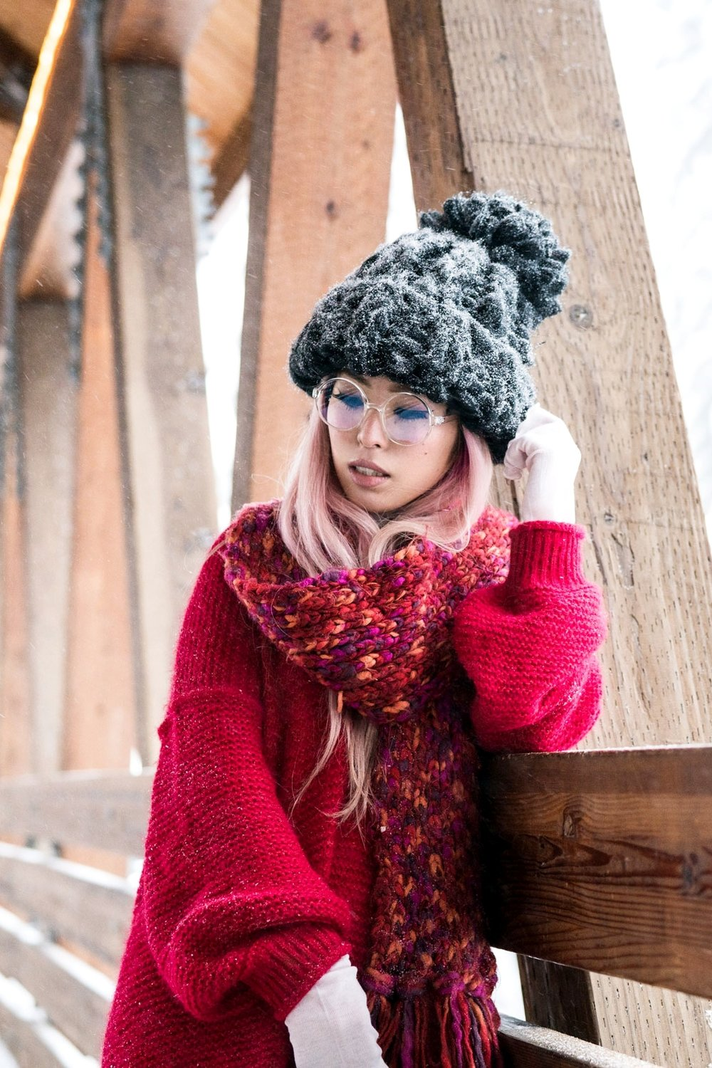 H&M Multi Colored Scarf, Transparent Clear Lens Glasses, Free people All Mine Sweater, Free People Modern Cuff Layering Top, Free People Ace High Rise Jeans, Free People Bobbi Chunky Pom Beanie, EGO Ankle Boots, Aika's Love Closet, Seattle Fashion Blogger from Japan, Pink Hair2