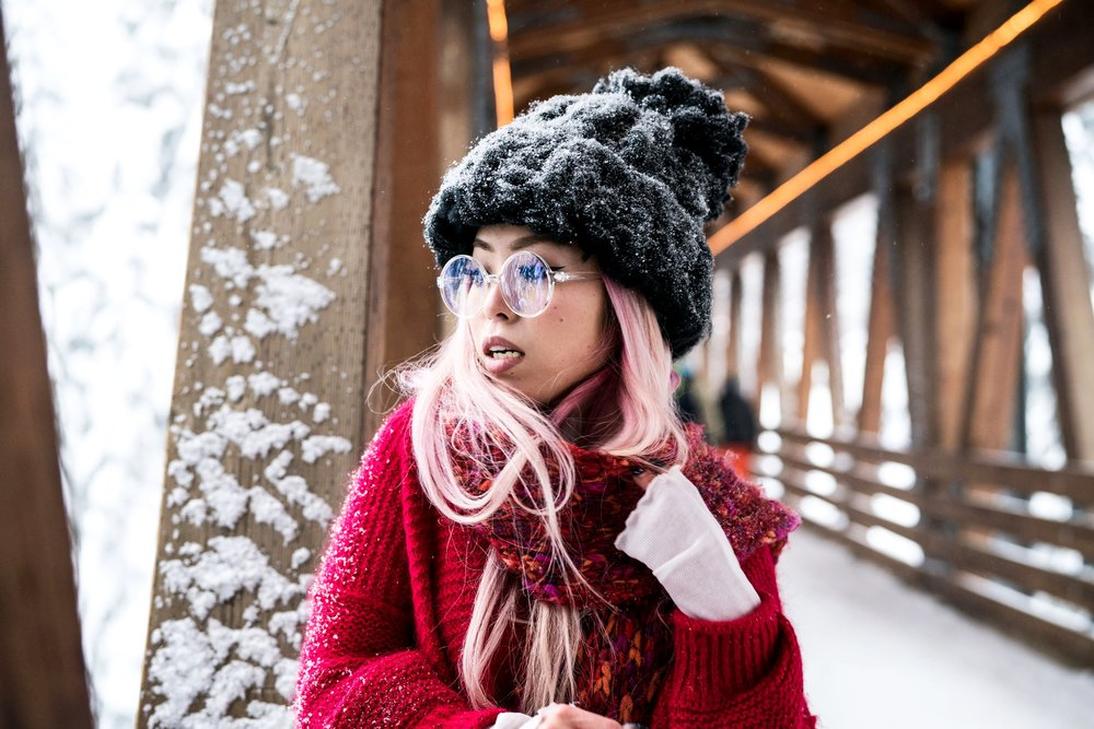 H&M Multi Colored Scarf, Transparent Clear Lens Glasses, Free people All Mine Sweater, Free People Modern Cuff Layering Top, Free People Ace High Rise Jeans, Free People Bobbi Chunky Pom Beanie, EGO Ankle Boots, Aika's Love Closet, Seattle Fashion Blogger from Japan, Pink Hair 8