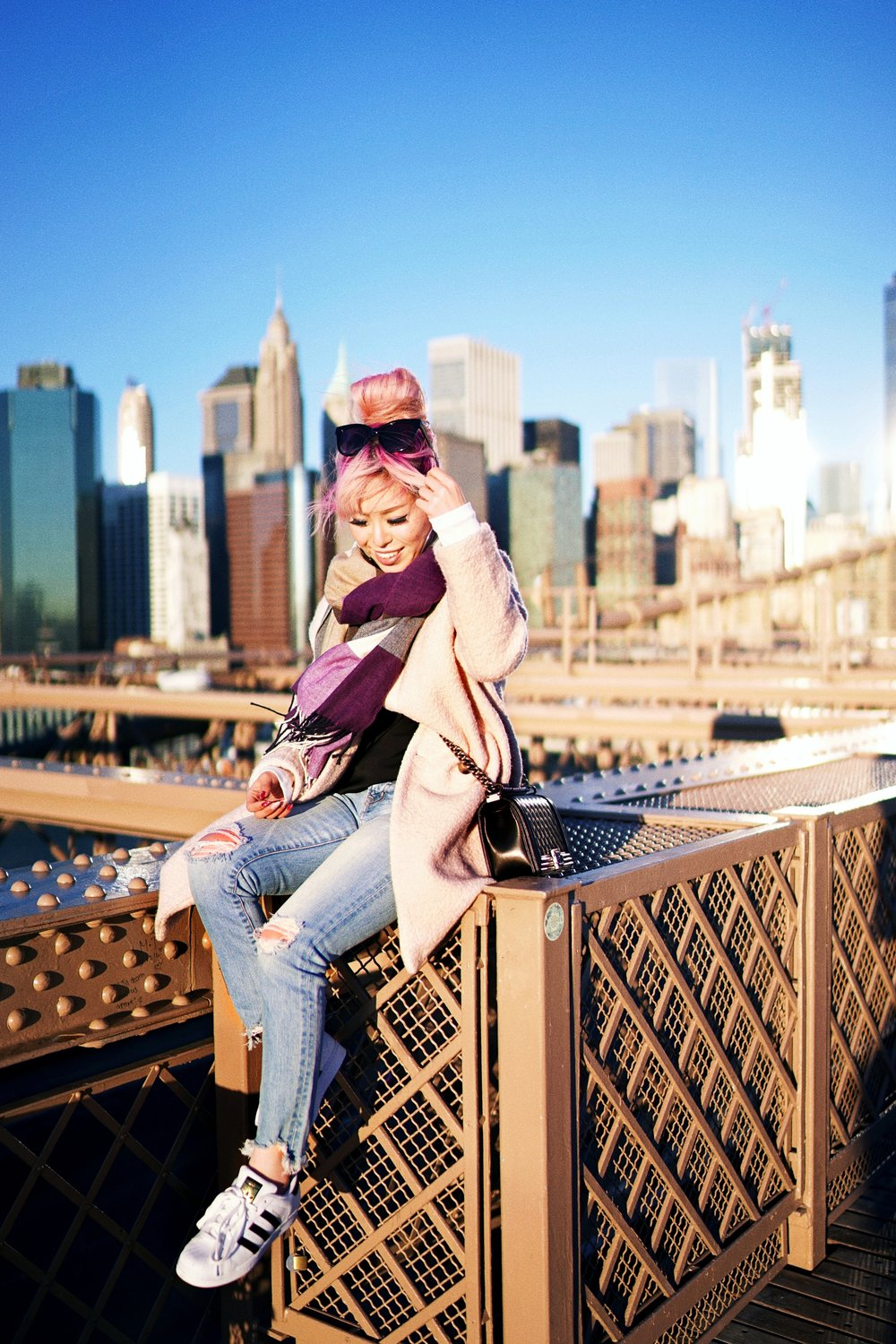 GAP Scarf-Zara pink coat-MOUSSY- frayed hem jeans- CHANEL Lambskin Quilted Medium Boy Flap Black-Adidas Superstar Shoes-Urban Outfitters Sunglasses-Aika's Love Closet-Sealtle fashion style blogger from japan-pink hair-brooklyn bridge-new york-city