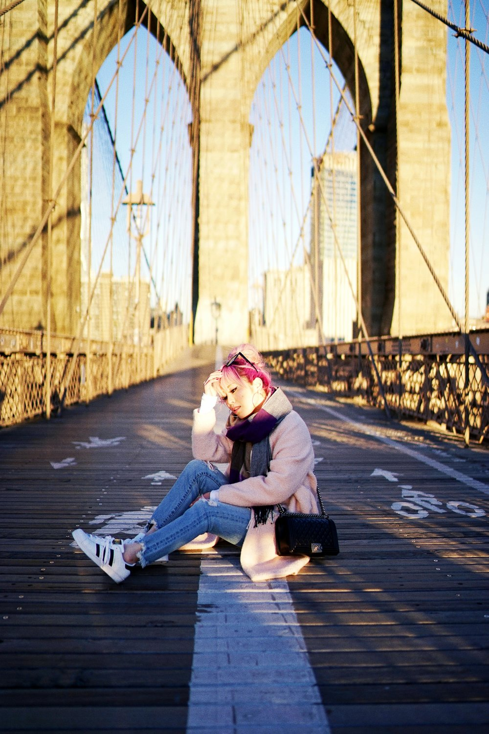 GAP Scarf-Zara pink coat-MOUSSY- frayed hem jeans- CHANEL Lambskin Quilted Medium Boy Flap Black-Adidas Superstar Shoes-Urban Outfitters Sunglasses-Aika's Love Closet-Sealtle fashion style blogger from japan-pink hair-brooklyn bridge-new york-city 2