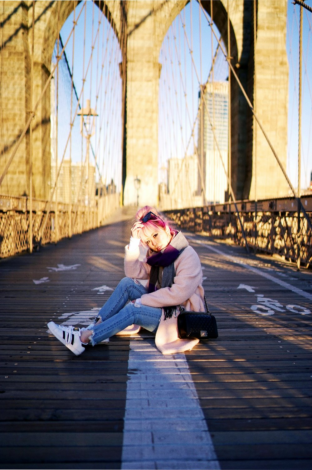 GAP Scarf-Zara pink coat-MOUSSY- frayed hem jeans- CHANEL Lambskin Quilted Medium Boy Flap Black-Adidas Superstar Shoes-Urban Outfitters Sunglasses-Aika's Love Closet-Sealtle fashion style blogger from japan-pink hair-brooklyn bridge-new york-city 3